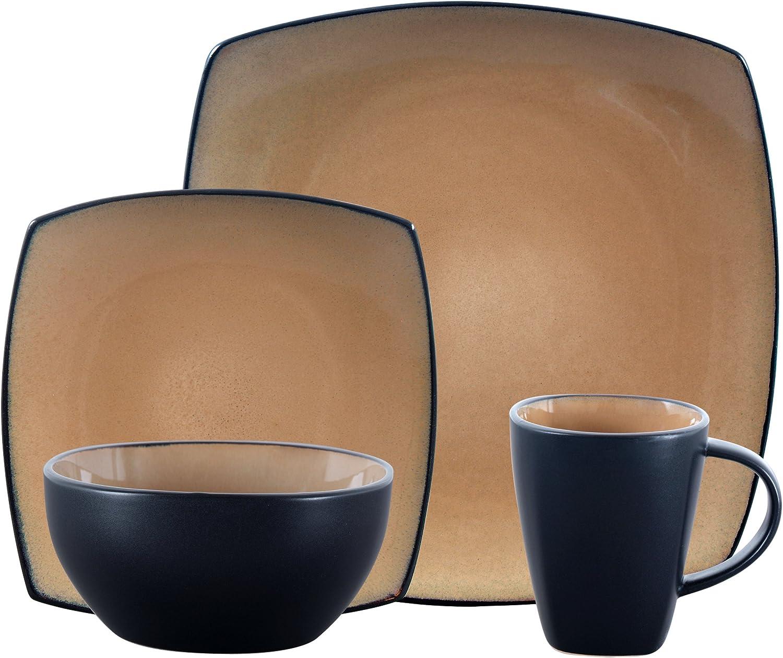 Gibson Elite Soho Lounge Reactive Glaze Stoneware Dinnerware set, Bella, Taupe