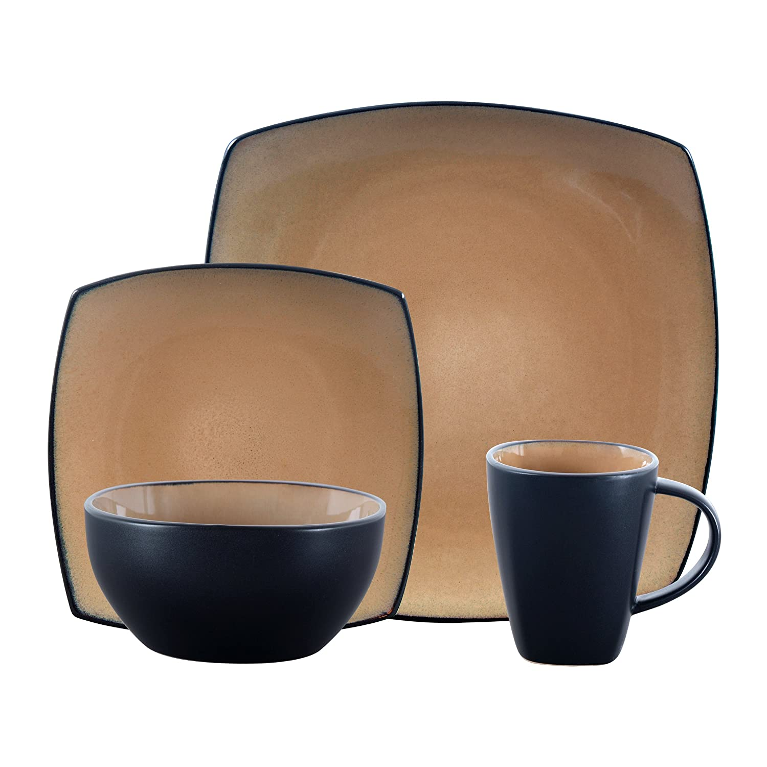 Gibson Elite 61222.16RM Soho Lounge Square 16-Piece Reactive Glaze Dinnerware Set Service of 4, Stoneware, Taupe