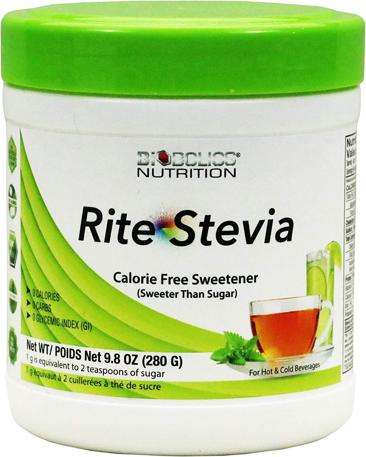 Rite Stevia Powder Concentrate, 9.8 oz – Raw Green Leaf Naturally Sweet Pure White 0 Carb Zero Calorie Sweetener Powdered Sugar Substitute for Diabetics, Keto Baking, Mixing Drinks & Smoothies