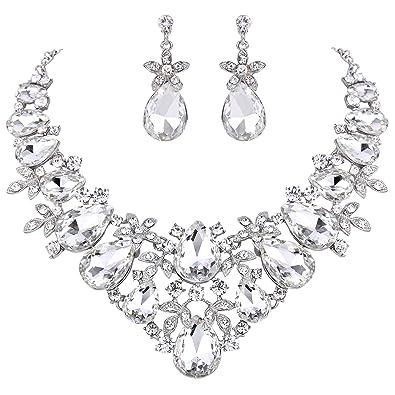 Clearine Women's Bohemian Boho Crystal Flower Teardrop Hollow Statement Necklace Dangle Earrings Set TBk8y6K48m