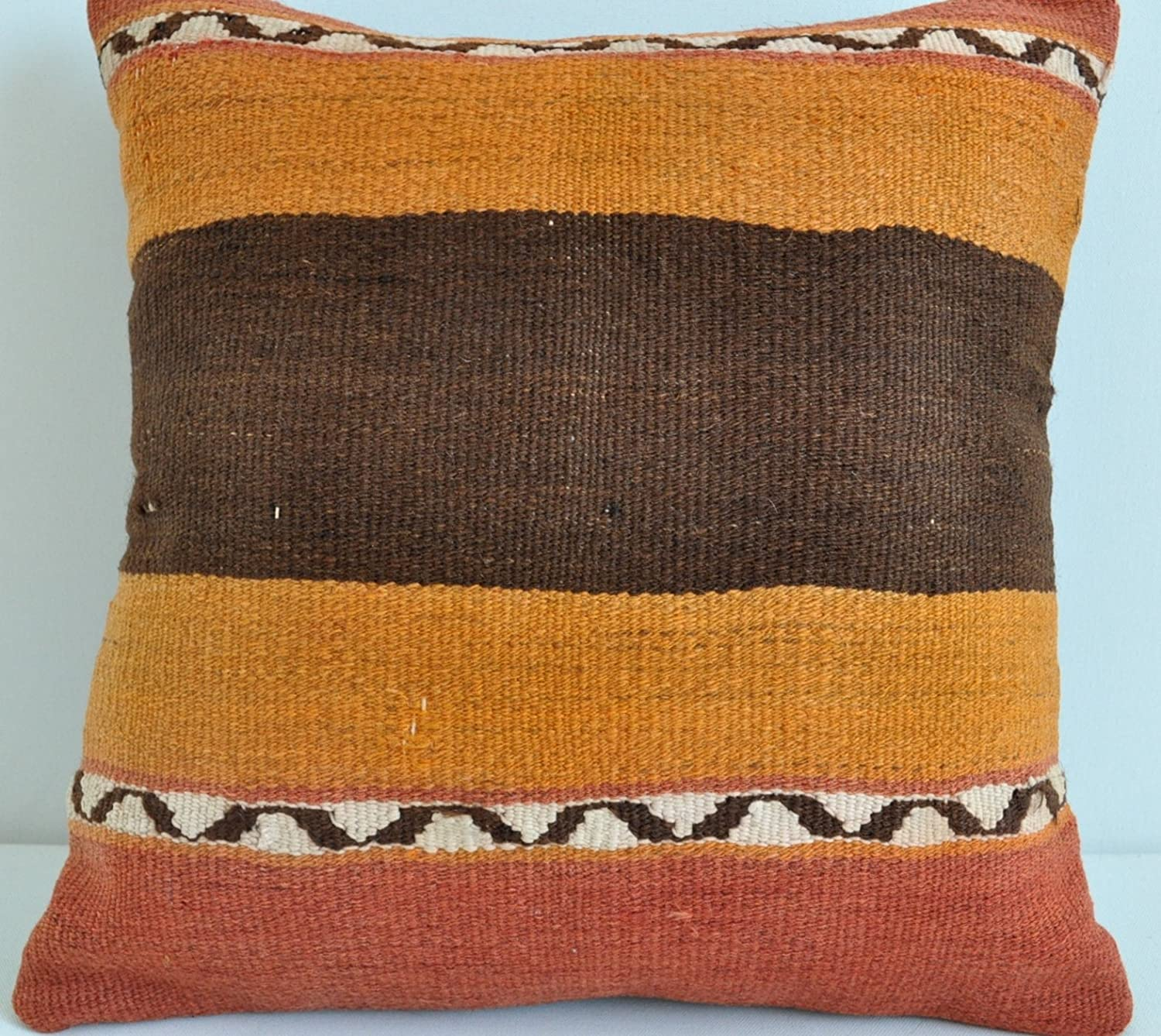 Vonka Home Genuine Hand loomed Rug Pillow Cover Produced from Anatolian Vintage Rug Kilim