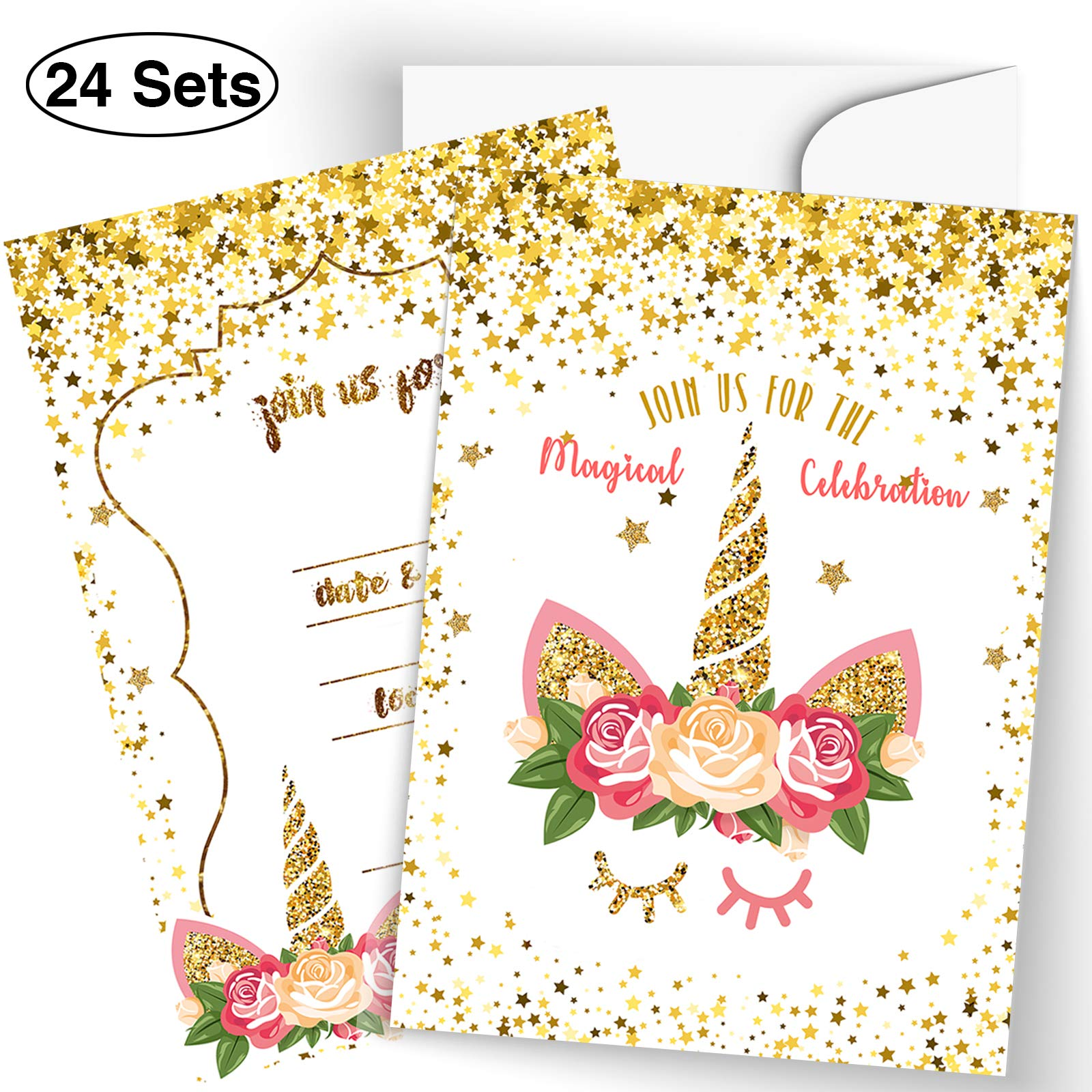 FRONT 24 Unicorn Invitations Large Set Glitter Unicorn Face with 24 Envelopes Double Sided