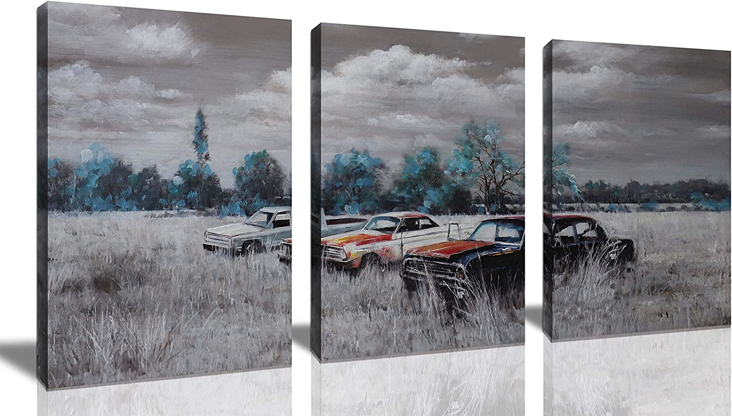 Wall Art For Living Room Farmhouse Decor Rustic Wall Art Theme Artwork Black And White Teal Tree Weed Art Vintage Car Decor 3 Piece Canvas Wall Art Wall Decor For Bedroom Size 12x16 Each Panel