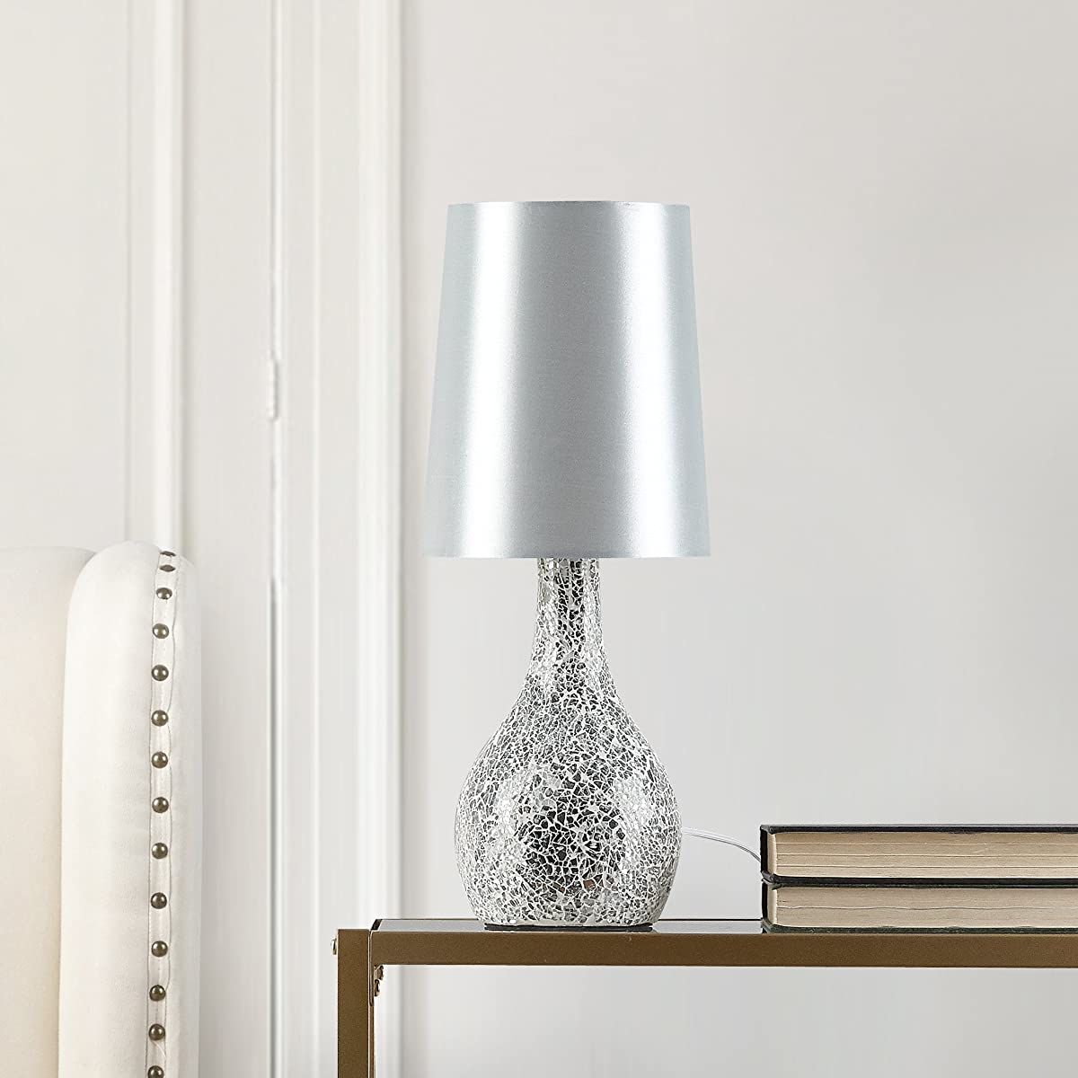 Urban Shop Mosaic Glass Lamp with Satin Shade, Silver