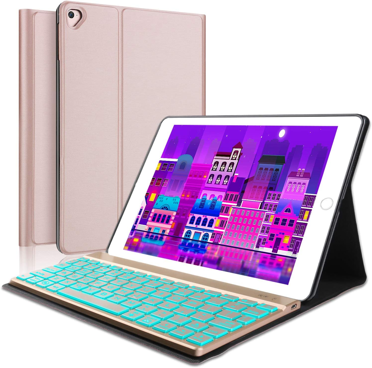 Keyboard Case iPad 9.7 2018(6th Gen) - iPad 9.7 2017(5th Gen) - iPad Air 2&1 - iPad Pro 9.7-7 Colors Backlit Detachable Keyboard - Slim Leather Folio Cover - iPad 9.7 Keyboard Case(Rose Gold)