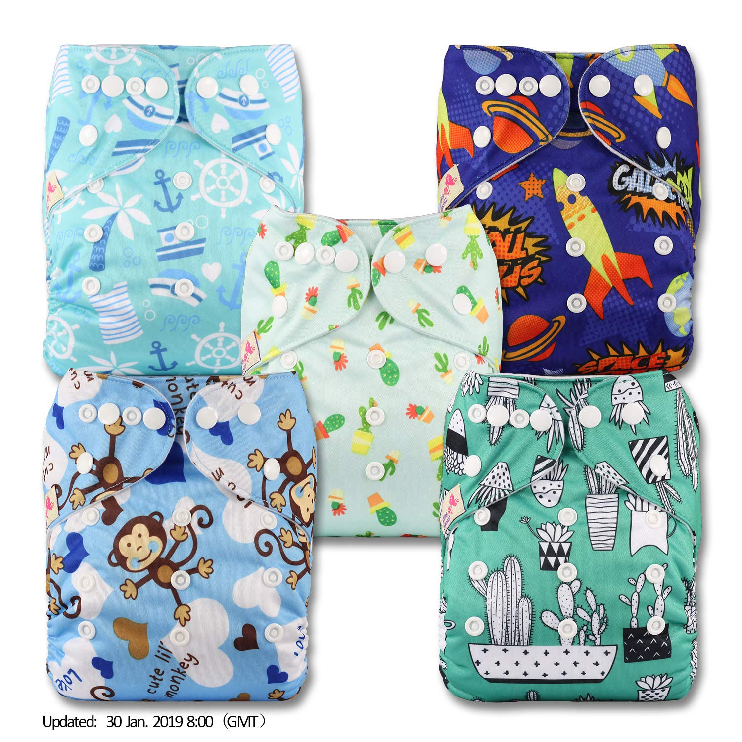 Patterns 511 with 10 Microfibre Inserts Set of 5 Fastener: Popper Reusable Pocket Cloth Nappy Littles /& Bloomz