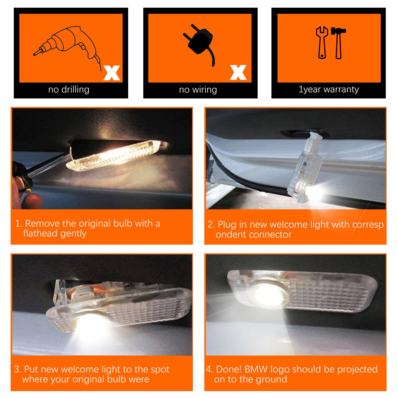 FlexDin t/ürprojektoren autot/ür Logo Projektion LED Logo LED t/ür Auto 2 St/ück t/ürbeleuchtung und Einstiegsbeleuchtung mit Logo f/ür F10 E61 E90 E91 E65 E70 usw