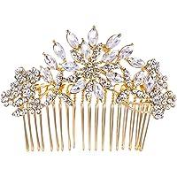 Ever Faith Bridal Flower Snowflake Hair Comb Clear Austrian Crystal Silver-Tone