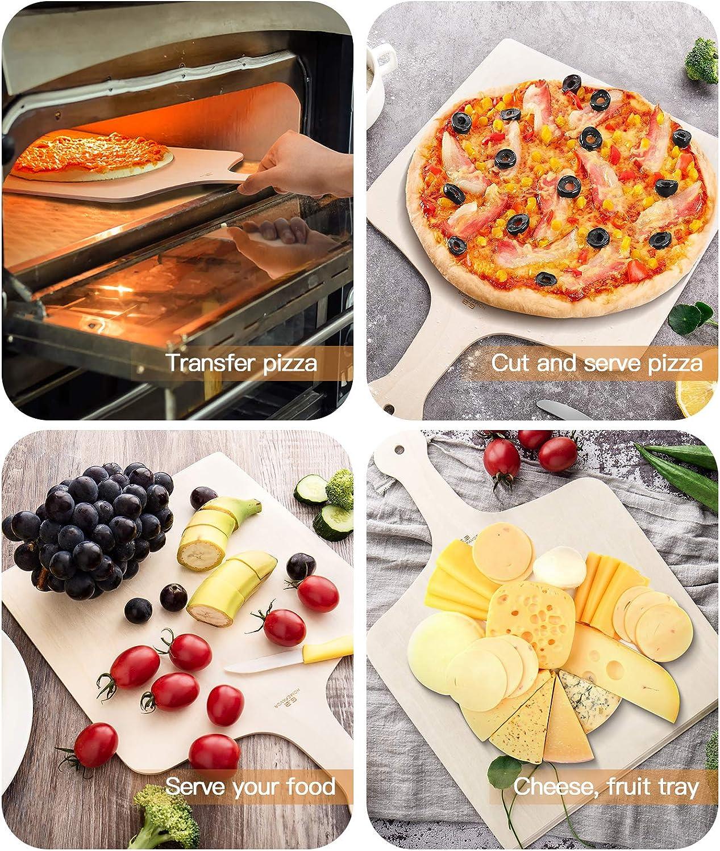 G.a HOMEFAVOR Pala para Pizza Esp/átula para Pide Madera Lote de 3 42 x 30cm Tabla para Pizza para Hornear Pan de Pizza