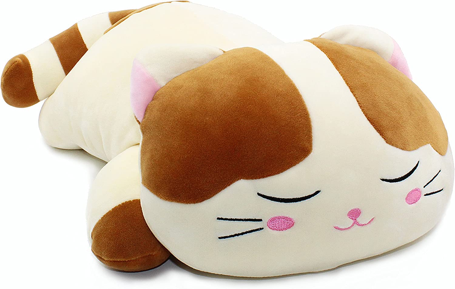 Onsoyours Plush Cat Doll Pillow Stuffed Chubby Cat Cute Fluffy Soft Plush Bread Toast Cat Cushion Animal Pillow for Kids Brown White, 15.7 inch