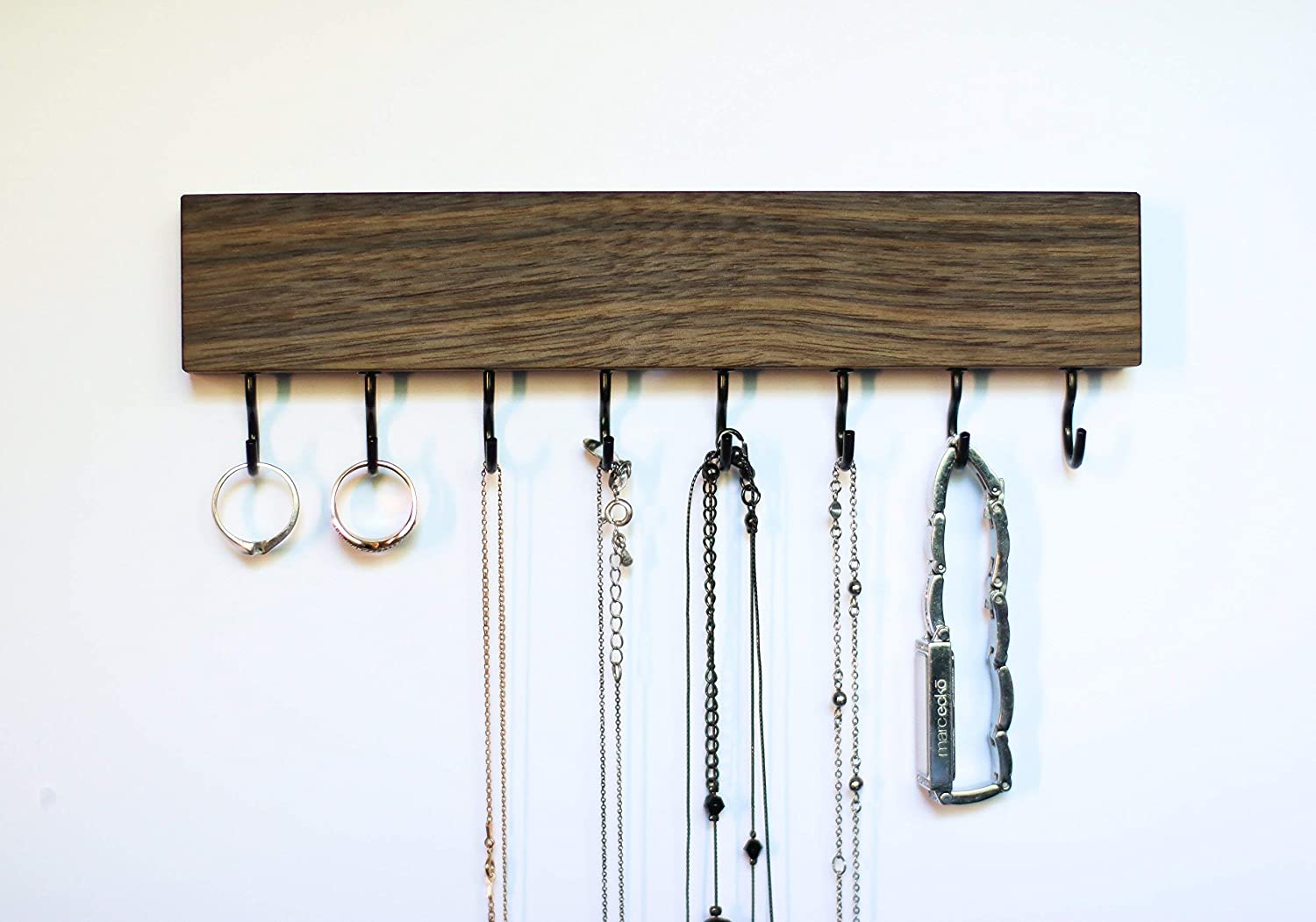 SOLID WALNUT WOOD Wall Mount Jewelry Organizer/Necklace Handmade Holder Hooks Key Holder Hanging Stand Rustic Decor/Best gift idea / 8 black hooks bottom