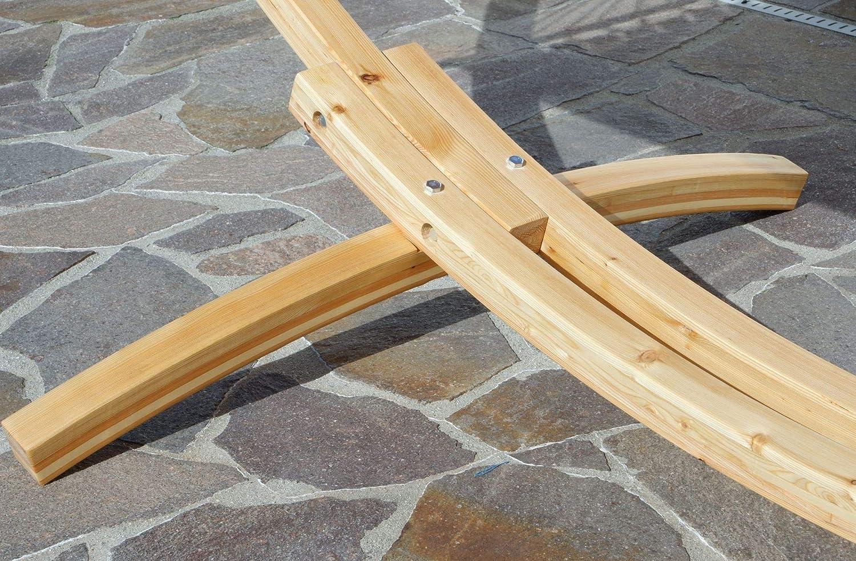 Rojo aus Holz L/ärche Natur mit bunter Stab H/ängematte JETZT mit roten Seilen von AS-S ASS 350cm H/ängemattengestell Natur