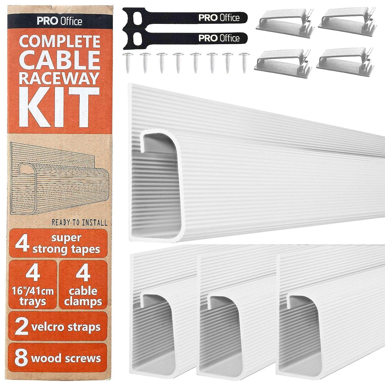 """10x40.60cm Kit Cable Canal J Sistema Organizador de Cables de Computadora de Escritorio Organizadoras de Cables Negro para la Oficina y el Hogar. Bandejas para Debajo del Escritorio 4x16/"""""""