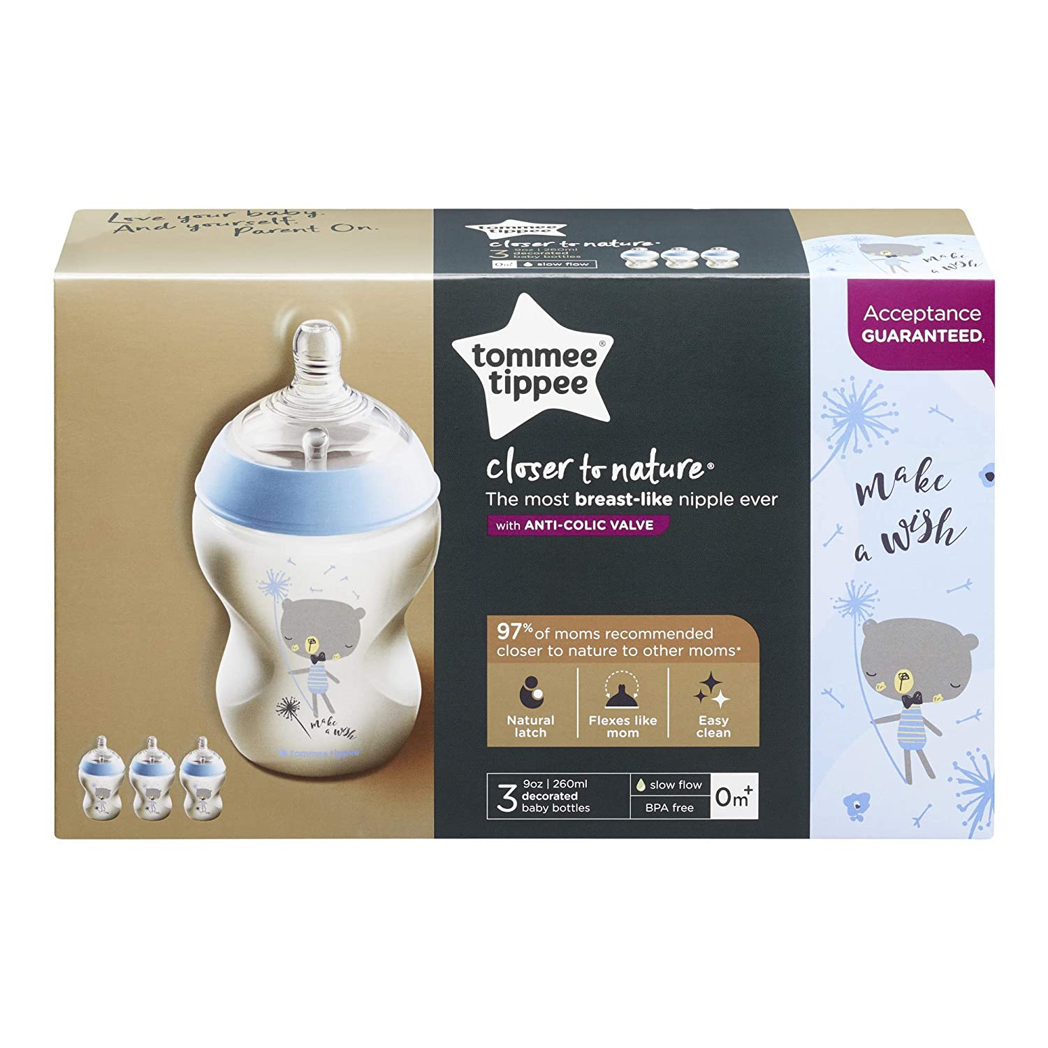 Tommee Tippee Closer to Nature Baby Bottle Decorated Blue Anti-Colic Valve Slow Flow Breast-Like Nipple for Natural Latch 2 Count Design May Vary 9 Ounce BPA-Free 0+ Months