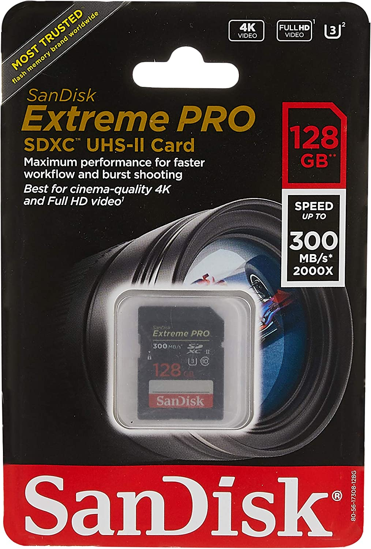 Sandisk Extreme Pro - Flash Memory Card - 128 GB - SDXC UHS-II - Black