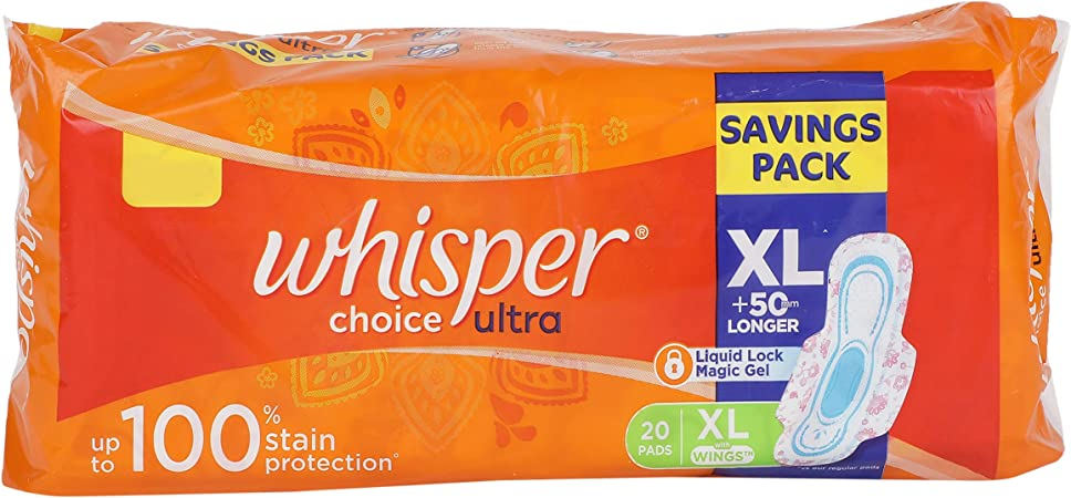 Buy Whisper Choice Sanitary Pads for Women, XL, 20 Napkins Online at Low  Prices in India - Amazon.in