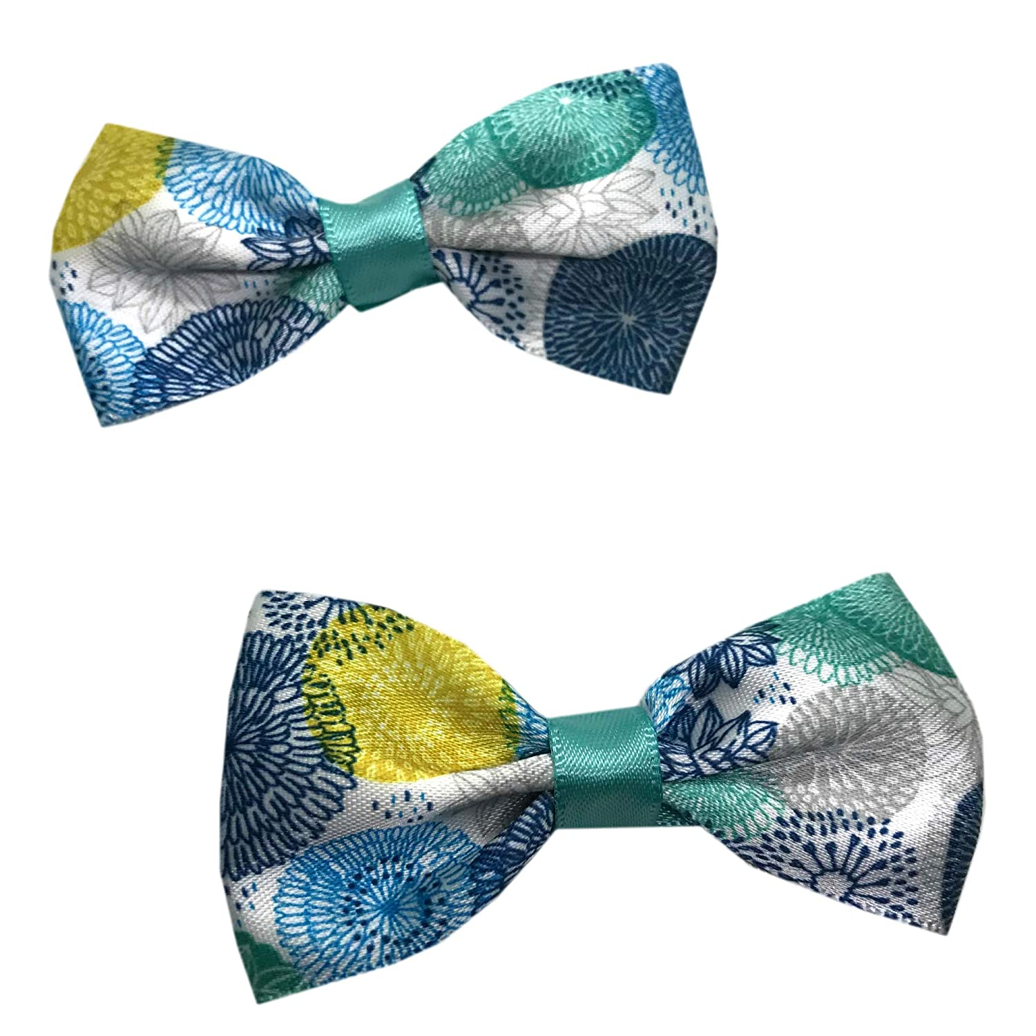 Pigtail Hair Bows Handmade Teal and Gold Dot Girls Hair Bow Set Little Girl Bows Toddler Hair Bows,