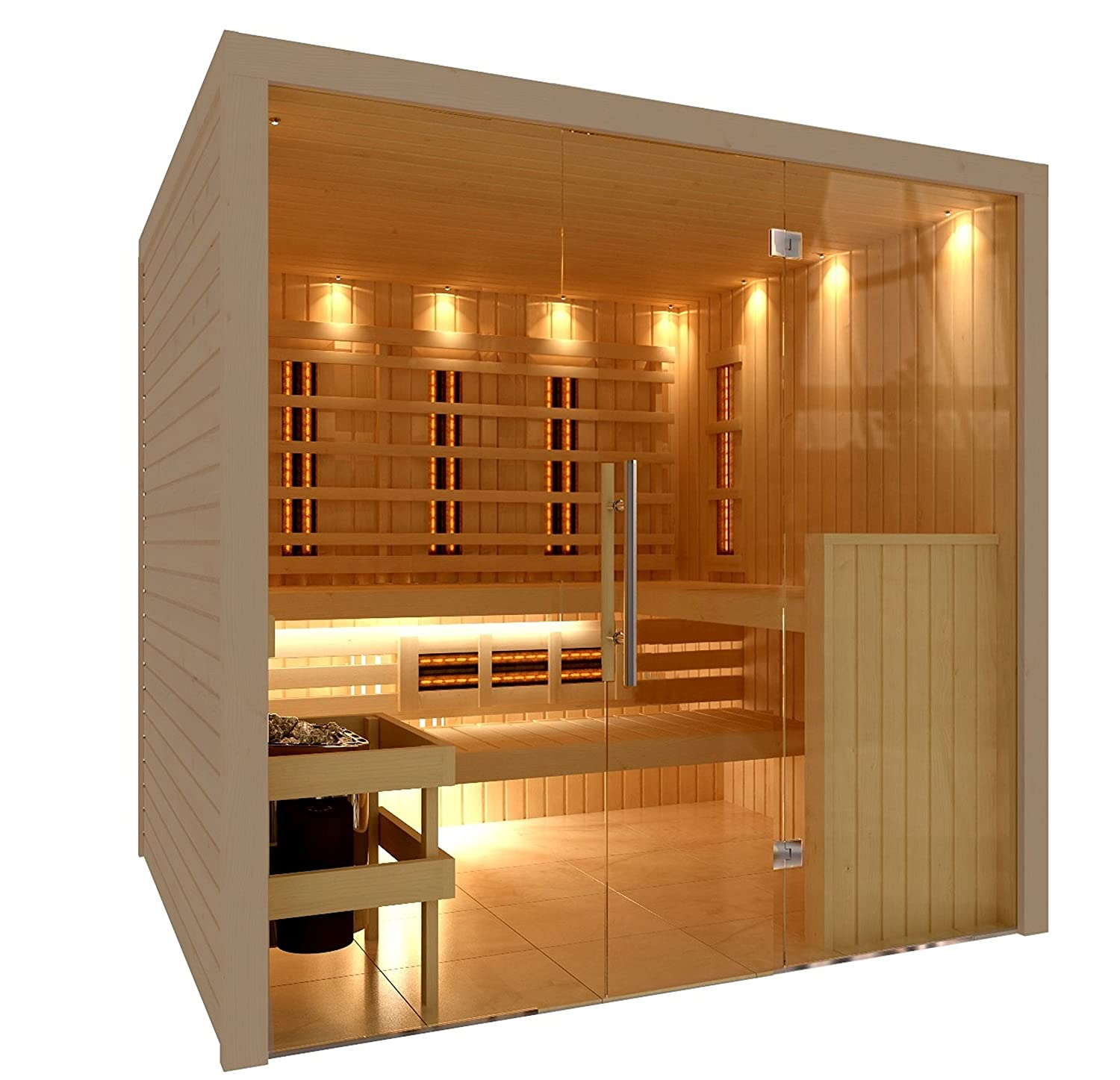 C-Quel Royal Sauna Infrarot Kombination Glasfront 1946mm x 1555mm x ...
