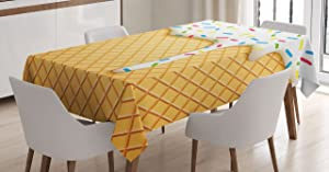 Ambesonne Food Tablecloth, Cartoon Like Image of and Melting Ice Cream Cones Colored Sprinkles Print, Dining Room Kitchen Rectangular Table Cover, 52