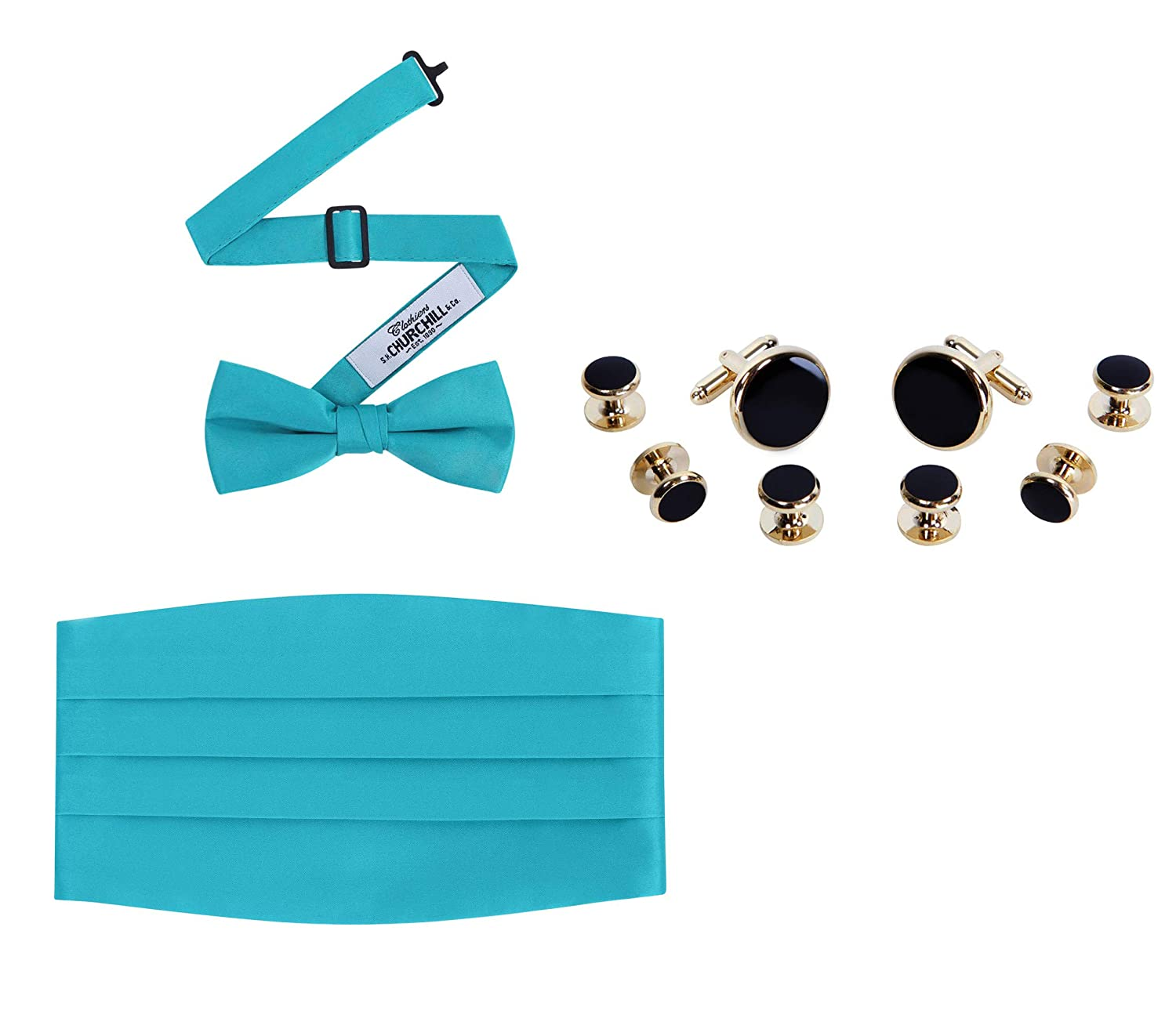 Gold Trim Cufflinks /& Studs Set Cummerbund Bow Tie