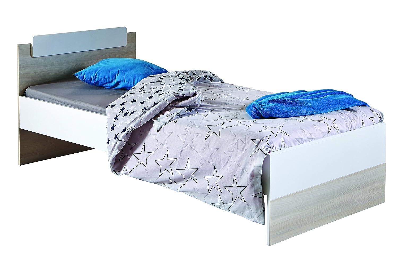 13Casa - Easy A1 - Struttura letto singolo. Dim: 94,4x193,2x73 h cm. Col: Bianco, Acacia. Mat: MDF. 201724 F00361101072_