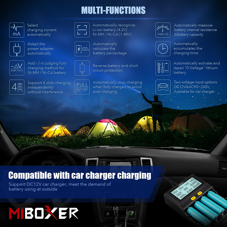 Miboxer C4 V3 Universal 18650 Charger 4 Slots for Rechargeable Batteries Ni-MH Ni-Cd AA AAA Li-ion LiFePO4 IMR ICR 10340 18650 26650 21700 with ...