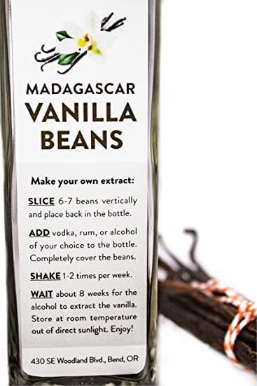 6 Madagascar Bourbon Vanilla Beans in Extract Bottle, Grade A Whole Beans for Baking,