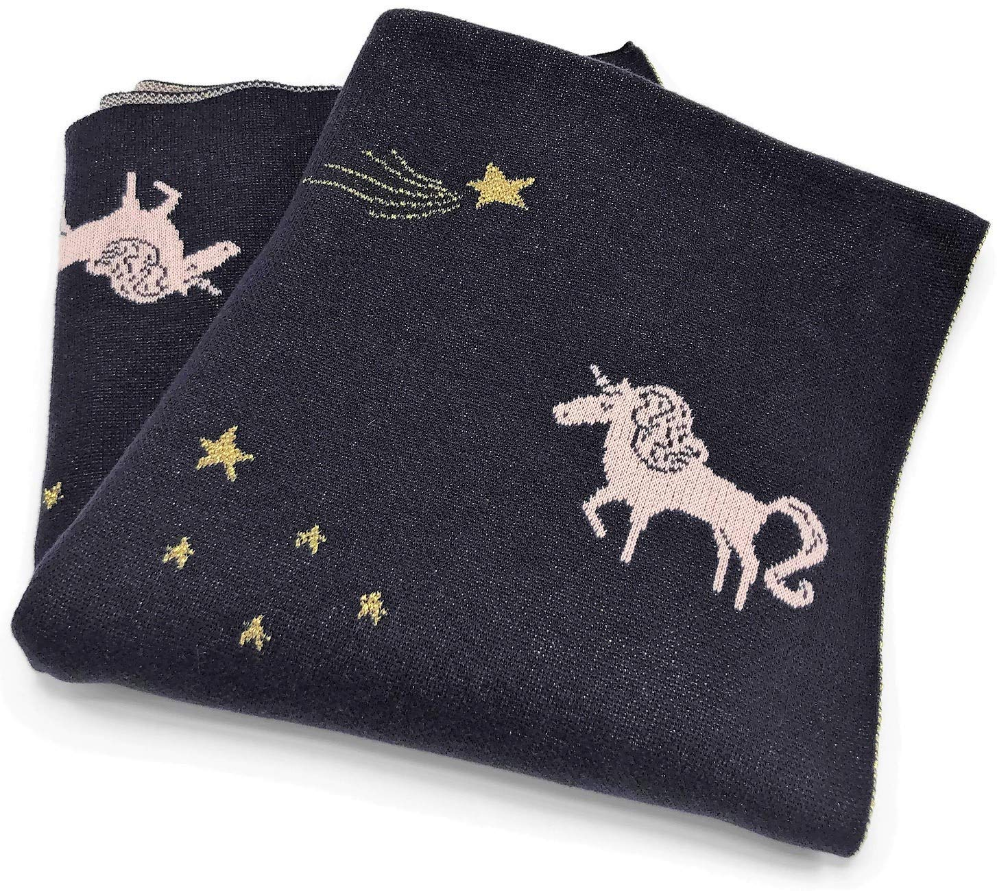 Frolics Kids Collection Pink Unicorns with Gold Stars Navy Blue Kids Throw Blanket 45'' x 55'' by Frolics