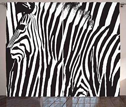 Ambesonne Zebra Print Decor Collection, Zebra Design With Animal Blended  Over Itself To Create An