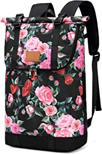 30L Roll-top Hiking Backpack, Travel Packable Laptop Daypack Camera Daypack School Bag for Running, Hiking, Cycling, Camping, Fits 15.6 Inch Notebook (Red Flower)