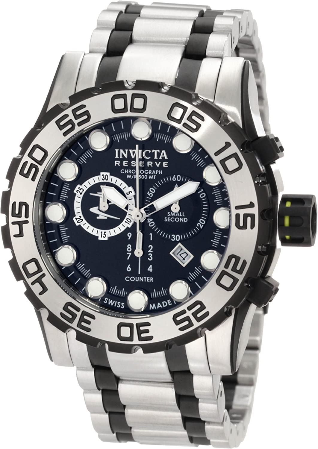 Invicta Men s 0814 Reserve Chronograph Black Dial Stainless Steel Watch