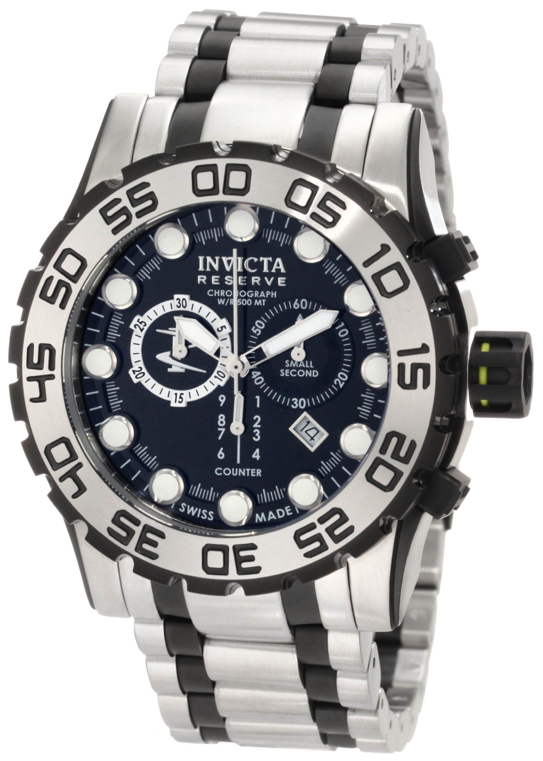 Invicta Men's 0814 Reserve Chronograph Black Dial Stainless Steel Watch by Invicta