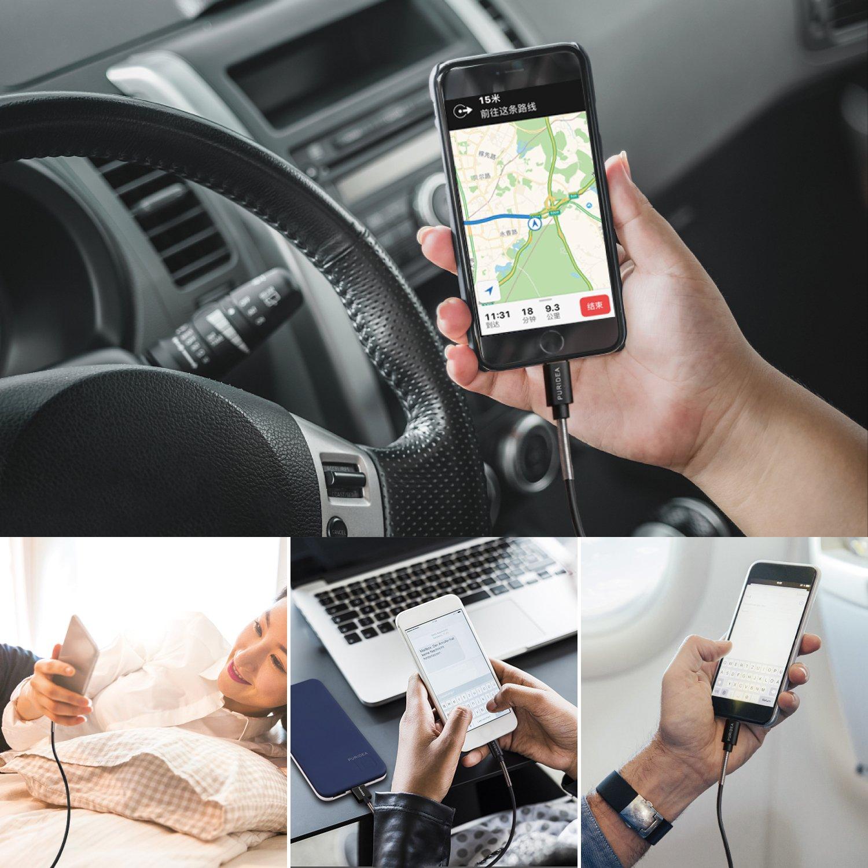 ,Cavo su USB per Phone X//8//8//7//6S//6Plus//5S//5C//5//SE,Pad Air//2,Pad mini//2//3,Pad 4,Pad Pro Max 2.4A Cavetto Phone,Puridea 20cm Cavo USB Phone Caricatore Carica Veloce 5 Pezzi