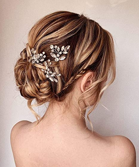 Unicra Bride Wedding Crystal Hair Pins Flower Bridal Hair Pieces Wedding Hair Accessories For Women And Girls Pack Of 3 Silver