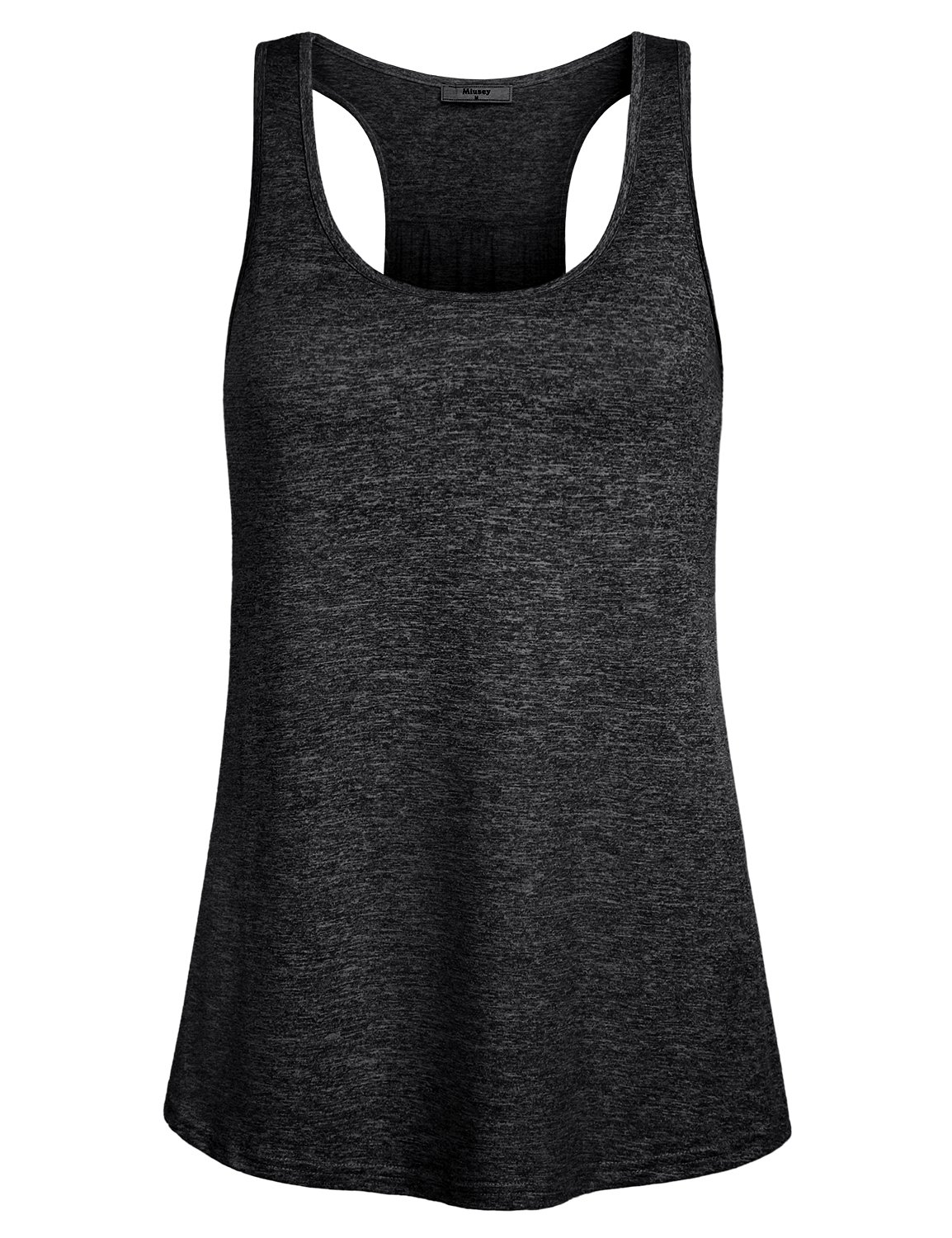 Miusey Tank Tops for Women Juniors Sleeveless Loose Fit Flowy Fitness Summer Activewear Running Yoga Workout Racerback in Sports Shirts Black M
