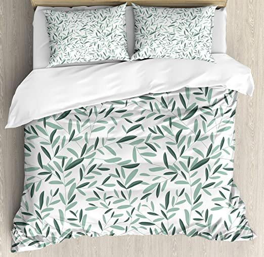 Green Floral Pattern with Leaves and Plants Tree Stems Branches Vintage Fabric Design Style Decorative 3 Piece Bedding Set with 2 Pillow Shams Leaves King Size Duvet Cover Set by Ambesonne