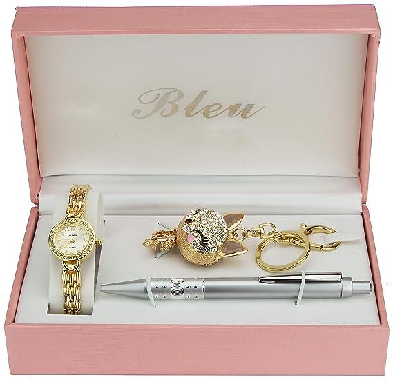 Caja de Regalo Reloj Mujer Oro- Llavero - Bolígrafo: Amazon ...