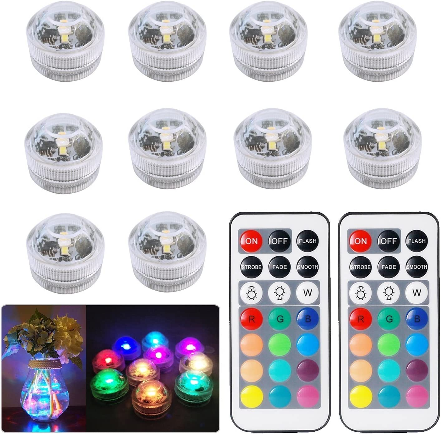 10pcs Luces sumergibles LED Luces subacuáticas impermeables SMD ...
