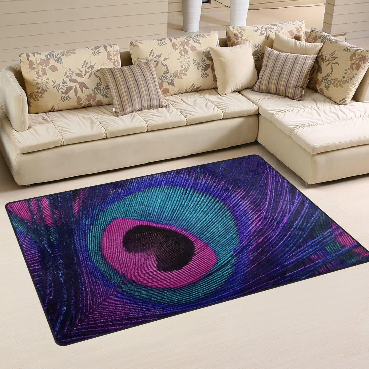 WOZO Purple Peacock Feather Area Rug Rugs Non-Slip Floor Mat Doormats for Living Room Bedroom 60 x 39 inches