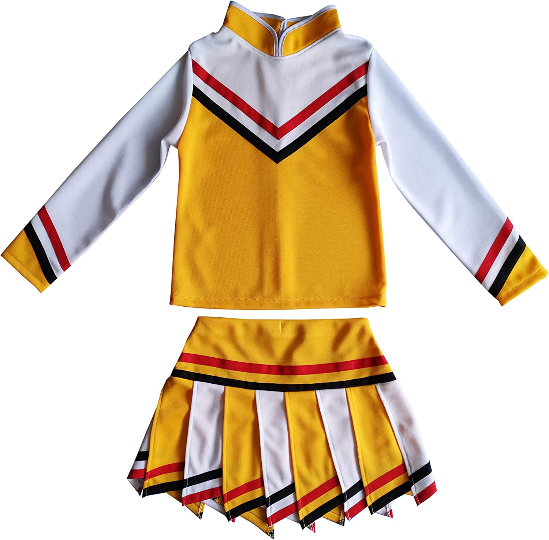 Kids//Girls Children Minis Sport Cheerleader Cheerleading Long Sleeves Costume Uniform Halloween Outfit Dress