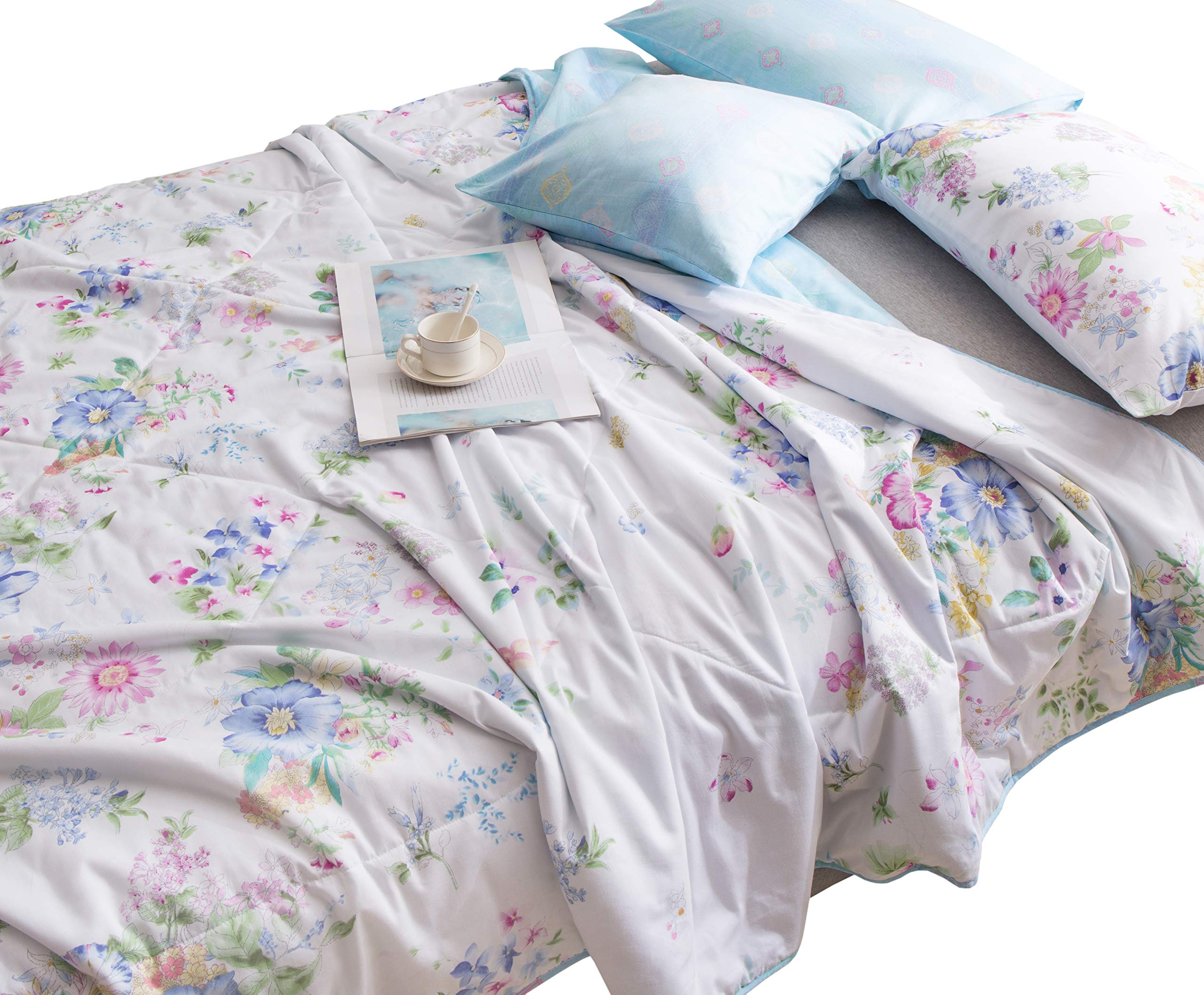 J-pinno Girls Flowers Blooming Printed Quilt Comforter Twin Lightweight Bed Coverlet (Twin 59'' X 78'', 11)