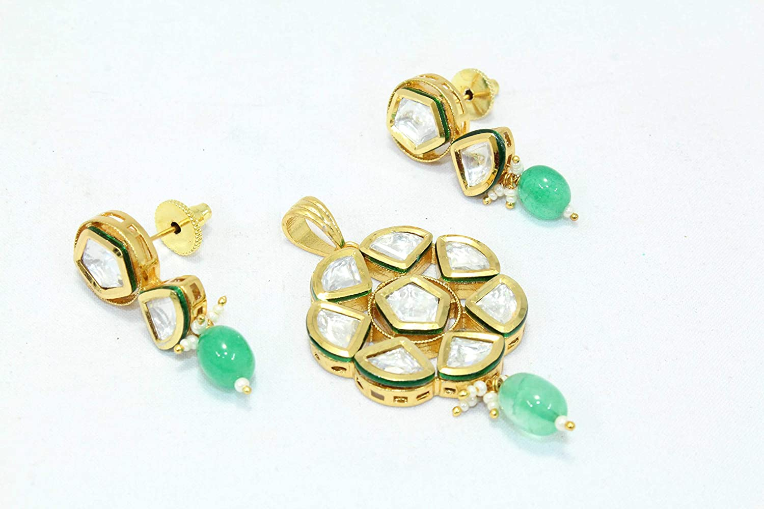 PH Artistic Fashion White Crystal Green Bead Stone Bridal Wedding Pendant Set Gold Plated