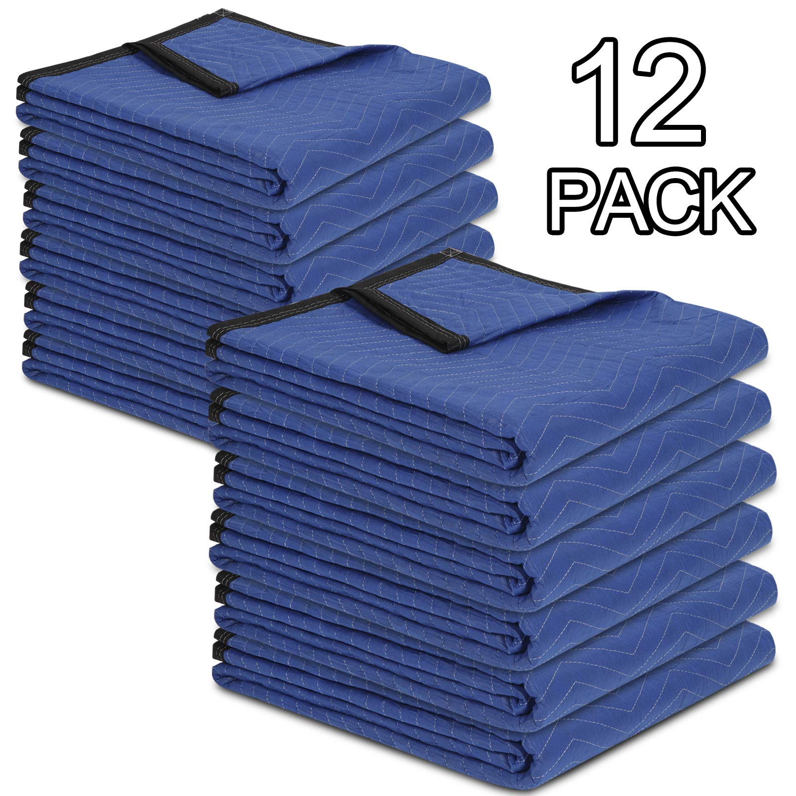 HomGarden 12 Moving & Packing Blankets - 80'' x 72'' Professional Quilted Shipping Furniture Pads Multi Purpose Blankets by HomGarden (Image #7)