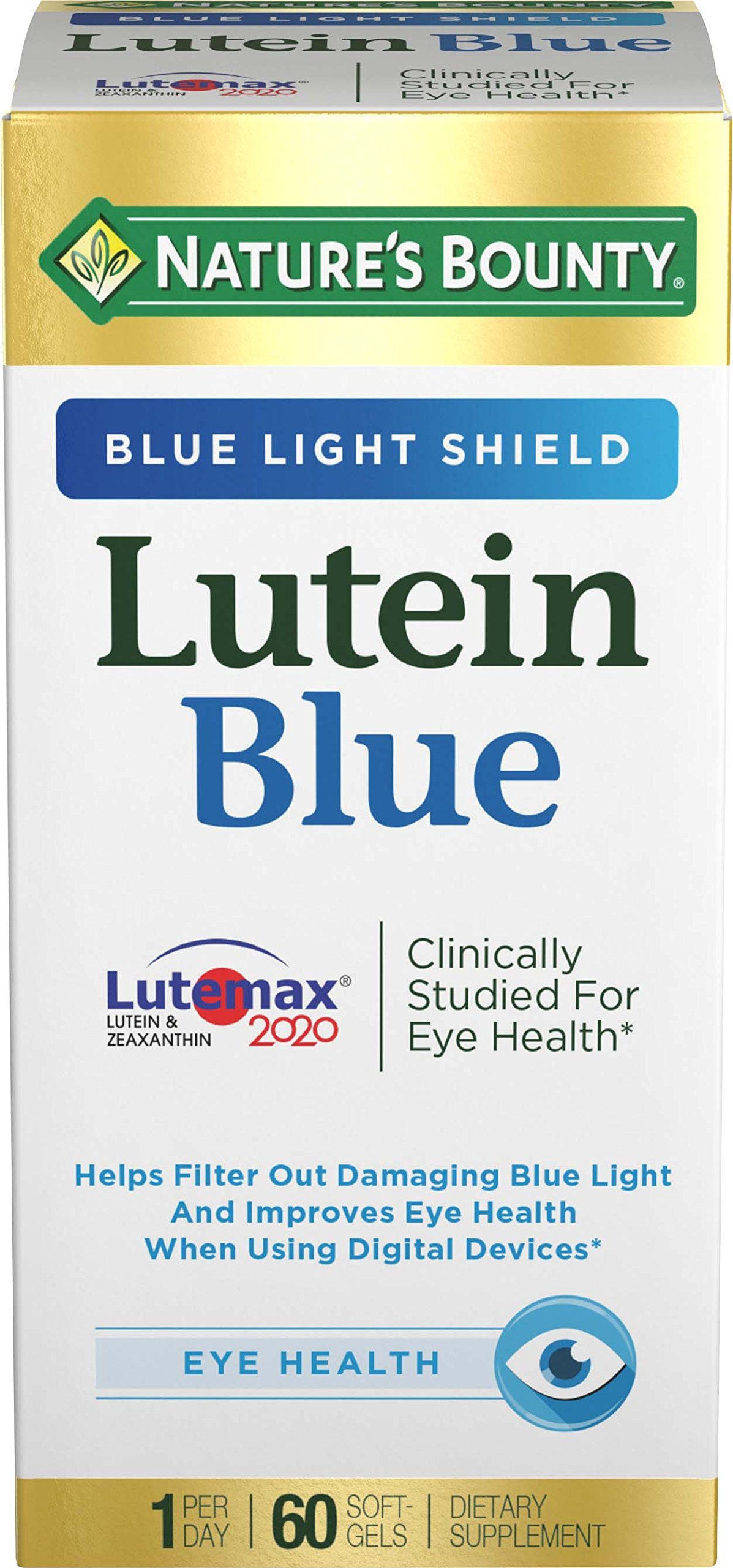 Nature's Bounty Lutein Blue Pills, Eye Health Supplements and Vitamins with Vitamin A and Zinc, Supports Vision Health, 60 Softgels