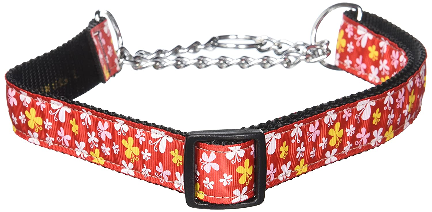 Dog   Cat   Pet Charms Butterfly Nylon Ribbon Collar Martingale Red Large