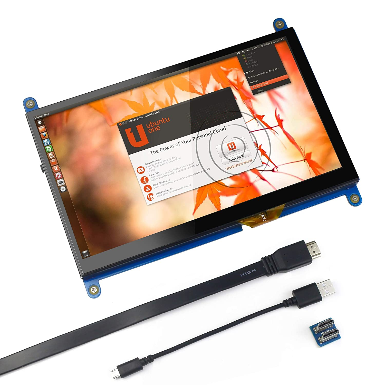 for Raspberry Pi 7 inch Capacitive Touch Screen HDMI Monitor - 1024x600 HD  LCD Display Gaming Screen, Drive Free for Raspberry Pi/Windows 10/Beagle