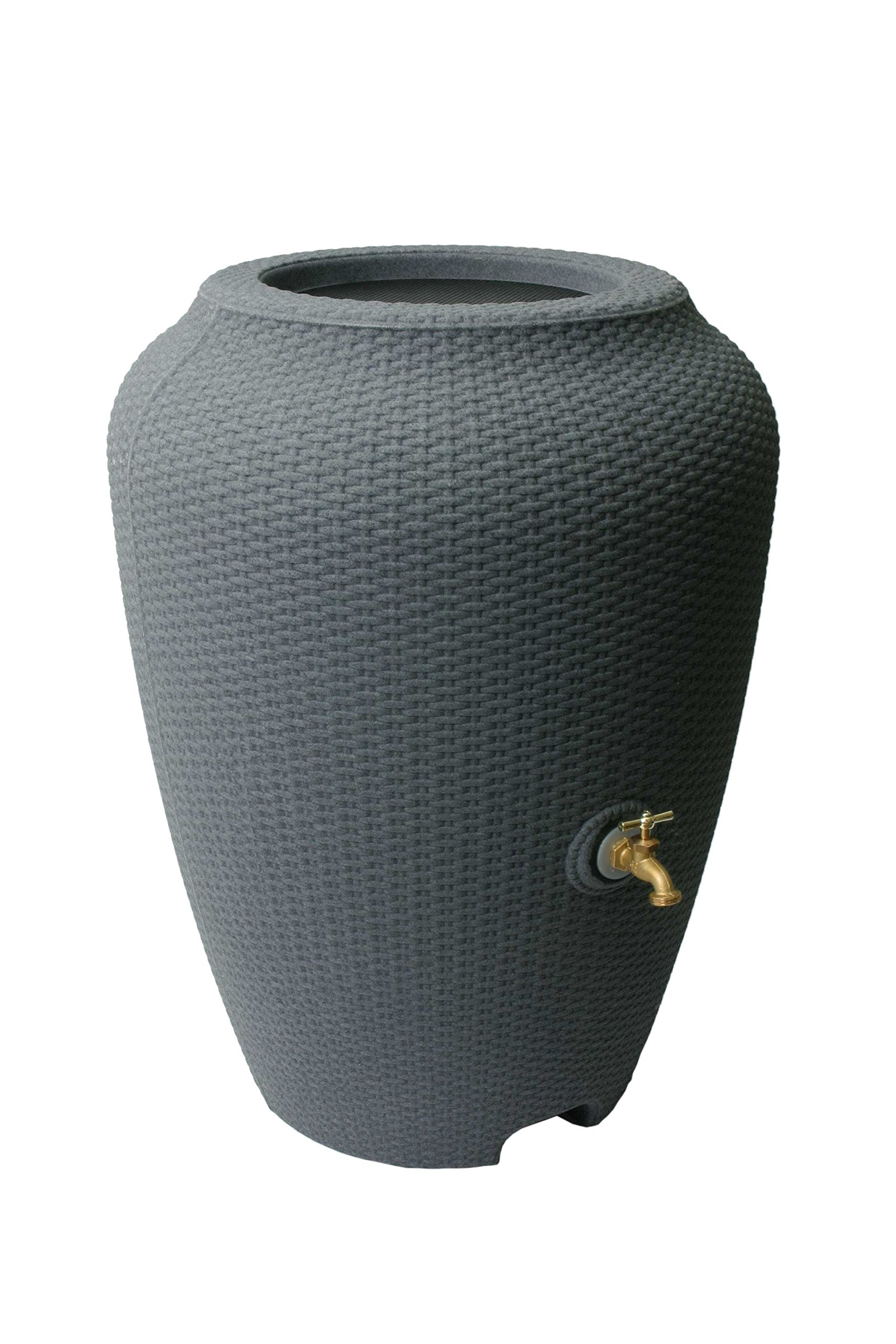 Algreen 81304 Wicker Rain Barrel, Charcoal Rattan
