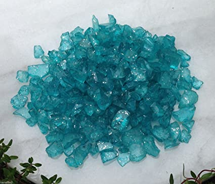 Miniature FAIRY GARDEN Terrarium TURQUOISE GLASS GEMS Crushed Decorative Chips