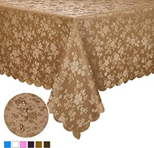 """Locika Washable Vinyl Tablecloth Easy Care Dinning Tablecloth Rectangle Heavy Duty Plastic Tablecloth Waterproof Spillproof Tablecloth for Indoor and Outdoor Use (Brown, 60"""" X 104"""" Rectangle/Oblong)"""
