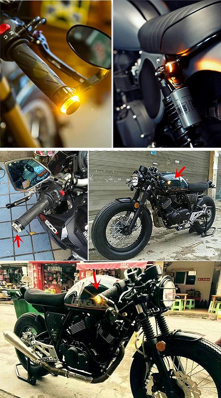 SFONIA 2pcs Lenkerblinker Motorrad 22mm 12V Blinkerleuchten Motorrad Blinker Licht Universal Scooter Quad Cruiser Off Road